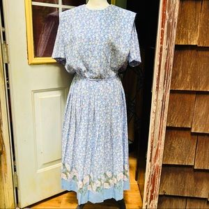 Vintage Leslie Faye dress pleated size 12